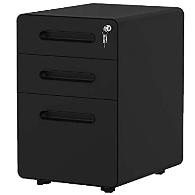 YITAHOME 3-Drawer Office Storage Cabinet,?Metal Mobile File Cabinet with Keys and Anti-tilt System, Home Commercial Pedestal File Cabinet Under Desk