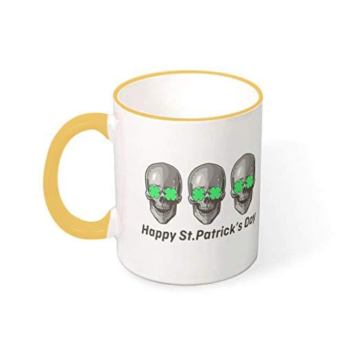 Fineiwillgo Taza de café St Patricks de porcelana, con asa multicolor, taza de café, adaptable, regalo para camping, goldenrod 330 ml