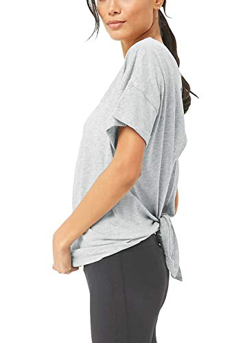 Bestisun Cute Yoga Split Back Tops Workout Clothes Tie Back Workout Active Shirts Short Sleeve Tank Top Fitness Gym Training Clothes for Sport Women Heather Gray-M