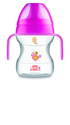 MAM Learn To Drink Cup Little Farm ZEDMM222F Tazza con Manici Removibili e Beccuccio Morbido, 6+ mesi , 190 ml, Rosa