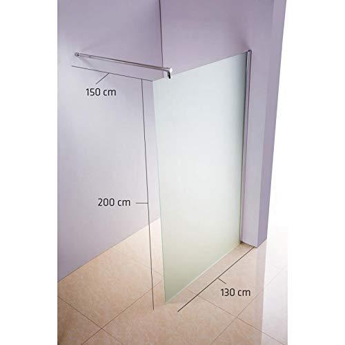 CLP Edelstahl-Duschabtrennung, Nano Glas, Haltestange: RUND (bis zu 3 Glasfarben und 20 Größen wählbar), Farbe:milchglas, Größe:130x200x150 cm