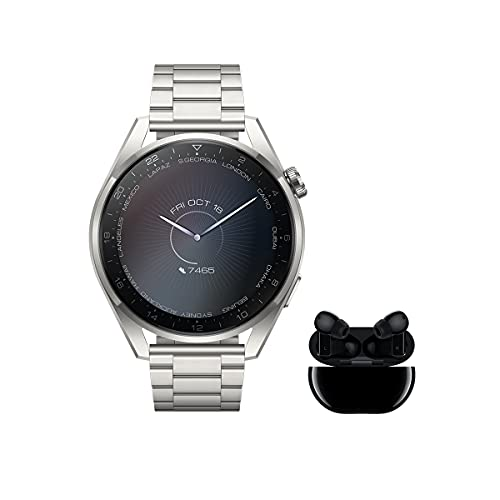 HUAWEI Watch 3 Pro Elite + Freebuds Pro Negro - Smartwatch de titanio 4G con pantalla de zafiro AMOLED de 1,43'', eSIM para llamadas y conectividad independiente, correa de cuero Titanio