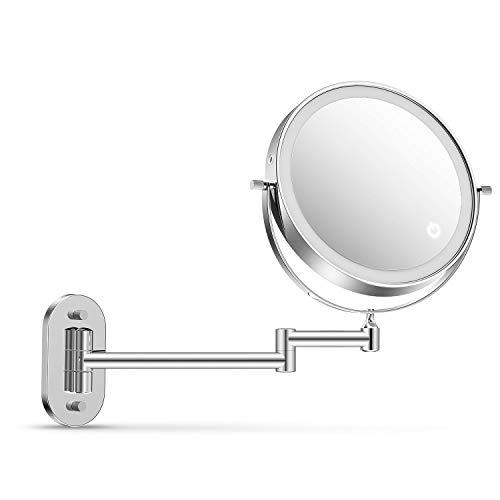 """alvorog Espejo Maquillaje con Luz LED, Espejo de Pared con 3 Modos de Luz y Aumento 1x/5x, Espejo con 36 Leds, Luz Ajustable y Rotación de 360°, 8""""Espejo de Baño con Carga USB o Batería - Plata"""
