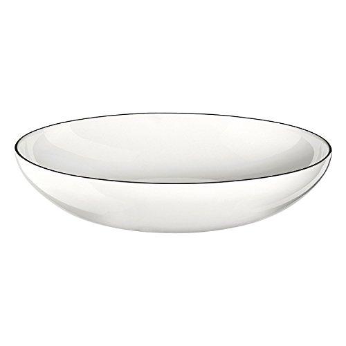 ASA 1904113 Ligne Noire pour pâtes/Assiette Creuse, Porcelaine, Blanc, 22 x 22 x 4,5 cm