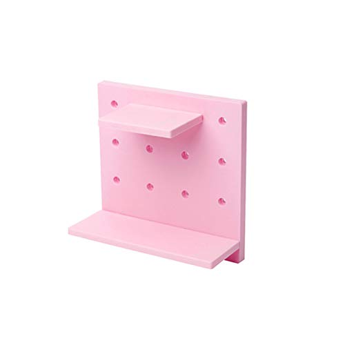 TOPBATHY Detachable DIY Decorative Storage Peg board Rack Wall-mounted with Holes Storage Shelf for Bathroom Bedroom (Pink)