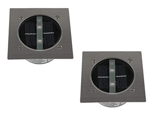 2er SET moderner Solar LED Bodeneinbaustrahler 4-eckig in Edelstahl / Glas für Außen