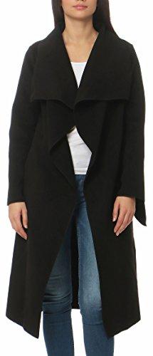 Malito Damen Mantel lang mit Wasserfall-Schnitt | Trenchcoat mit Gürtel | weicher Dufflecoat | Parka - Jacke 3040 (schwarz)
