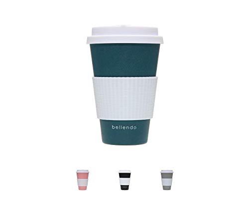 bellendo® Kaffeebecher to go Bambus 400ml - Coffee to go Becher Bamboo für Kaffee & Tee - to go Becher mit Deckel, Griff & Auslaufschutz, blau (Petrol)