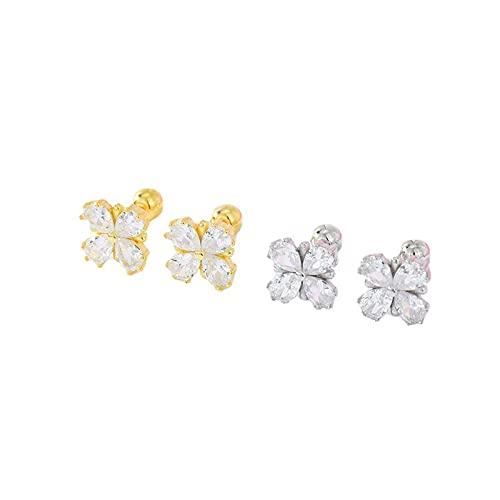 s925 Tremella aretes con diamantes, tornillos retorcidos, 4 garras, circón, joyería de moda para el oído
