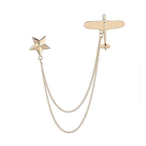 ZYING Aeroplano de Metal Broche Star Tassel Cadena Cuello Pin Traje Corsage Pasadores Pines Badge Broches para Mujeres Accesorios (Color : Gold)