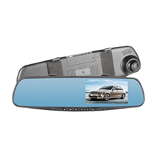 Rahungry Grabador De Conducción con Espejo Retrovisor De 4,3 Pulgadas Montado En El Vehículo, Grabador De Conducción con Visión Nocturna De Alta Definición Grabación En Bucle