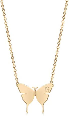 Mevecco Gold Dainty Initial Necklace 18K Gold Plated Butterfly Pendant Name Necklaces Delicate product image
