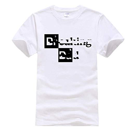 Hombres Ocio Camisetas Tops Algodón Hombres Top Manga Corta Casual Breaking Bad Print Camiseta para Hombres - blanco - Medium