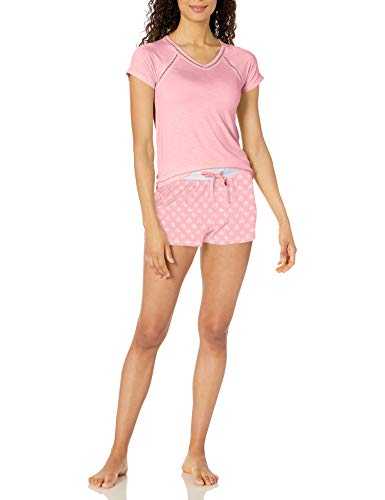 Amazon Brand - Mae Women's V-Neck W/ Trim & Short Set, Pink Heart, 2X