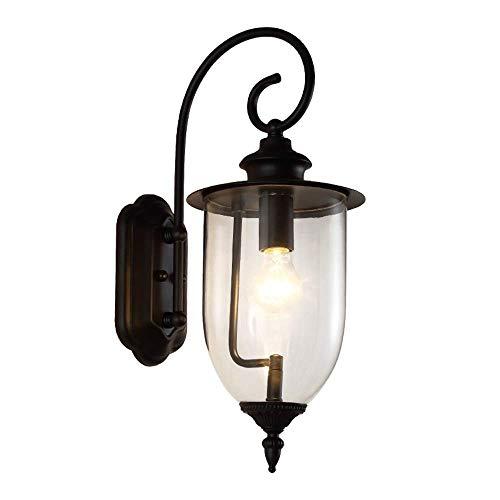 FCBUI La simplicidad de América Jardín pasillo exterior lámpara de pared de la lámpara Villa Patio Terraza Jardín Decoración IP55 impermeable al aire libre del arte del hierro de pared de vidrio Llant