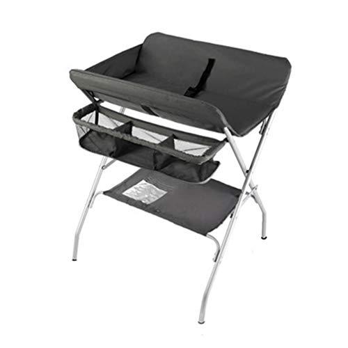 JIKLLSJID Tragbar verstellbar Faltbare Wickeltisch, Kinder Organizer mit Rädern und Speicher-Korb, Neugeborenen Dresser Tisch Baby-Bett-Krippe Wickeltisch (Color : Black)