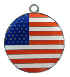 Expressies gravers geëmailleerd 28 mm Ronde Verenigde Staten vlag hond Tag