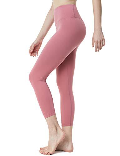TSLA Women High Waist Yoga Pants with Pockets, Tummy Control Yoga Capris, 4 Way Stretch Capri Leggings with Pockets, Capri Aerisoft(fyc62) - Pale Pink, Large