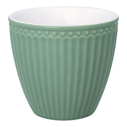 GreenGate - Latte Cup - Kaffeebecher - Becher - Alice - Keramik - Dusty Green/Rauch grün - 300 ml