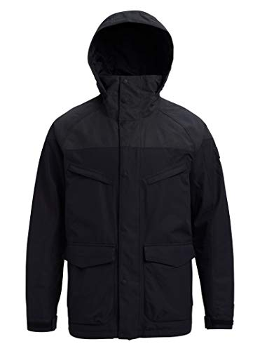 Burton Mens Breach Jacket, True Black/True Black Wax, Large