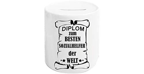 Shirtstown - Hucha con Forma de Cerdito y Texto en alemán Diplom Zum besten Sozialarbeiter Der Welt, Porcelana, Diplom - Soporte de Seguridad Social