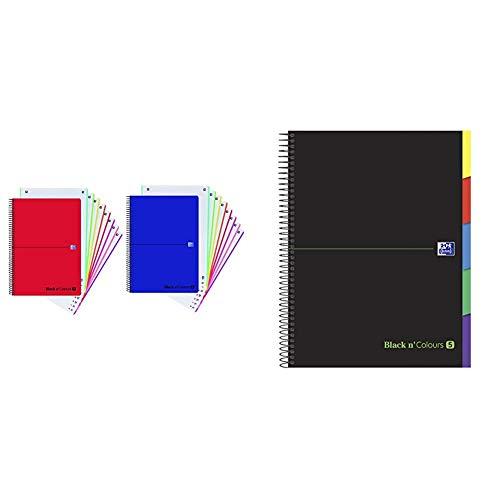 Europeanbook 8 multiasignatura A4+ 160h 5x5 Oxford Black N'Colors tapa plástico surtido + 942736 Cuaderno microperforado Black N'Colours A4, Tapa Extradura, 5x5