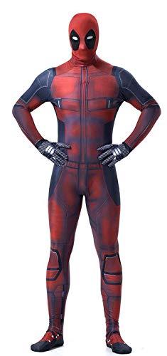 NVHAIM Avengers Adultos Deadpool All Inclusive Onesies, Deadpool Jumpsuit cos Wade Plus Tamaño Disfraz Three-Dimensional Contorno Headgear,Adult M