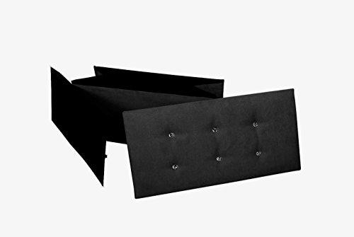 Ashley Mills New Large Ottoman Foldaway Storage Blanket Toy Box Bench Faux Suede con Bottoni Automatici Diamante Nero 76x 38cms