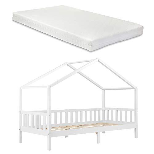 Cama para niños con Colchón Cama Infantil Elevada 200x90 cm Estructura Casa de Madera Pino con Reja Certificado Oeko-Tex 100 Blanco