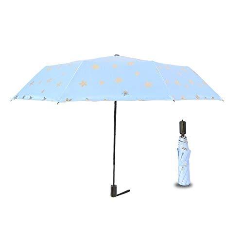NJSDDB paraplu Duurzame Draagbare Versterkte Bloem Stempelen Regen-Proof Winddicht Frame 3 Vouwen Zonnescherm Paraplu voor Vrouwen Gift