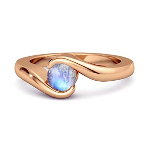 Shine Jewel Multi Elija su Piedra Preciosa Oceano Ola Anillo De Bodas De Plata De Ley 925 De 0.10 Ctw Chapado En Oro Rosa para Mujer (14, Piedra de la Luna)