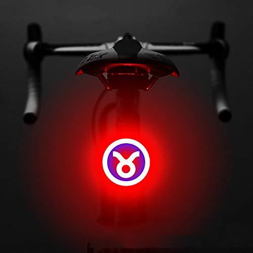 OFAY Fanale Posteriore Ricaricabile per Bici Fanale USB per Bicicletta Fanale LED per Bicicletta Impermeabile 5 modalità di Illuminazione per L'oroscopo Decorativo,Taurus
