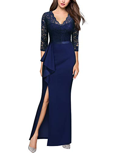 MISSMAY Women's Vintage Floral Lace Ruffle Half Sleeve Evening Party Formal Long Dress, Large, Navy Blue