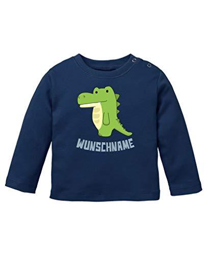 Comedy Shirts - Clipart Krokodil - Wunschname - Baby Langarm Shirt - Navy/Eisblau Gr. 92/98