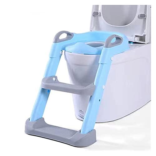 Pot pour bébé Urinoir de siège de Pot for bébé garçon Toilettes Chaise Pliante Multifonctions for Enfants Tabouret Escalier Échelle Enfants Girl Girl Safe Safe Toilette Sièges (Color : Blue)