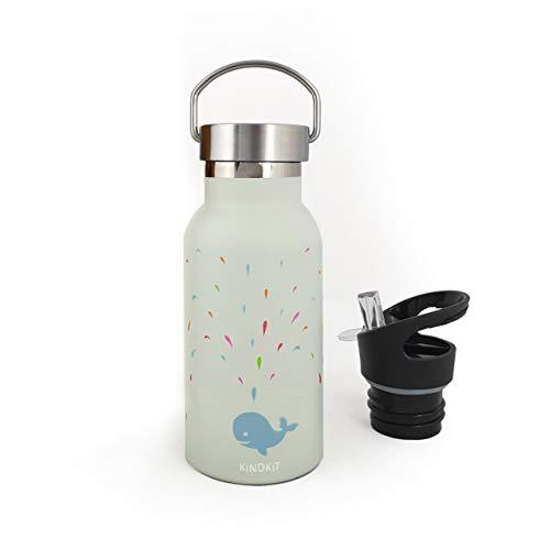 Botella 'Magic Whale' de acero inoxidable con aislamiento (350 ml) | Botellas frías o calientes durante horas| Tapa 'deportiva' antisalpicaduras + tapón de acero de rosca + cepillo de limpieza