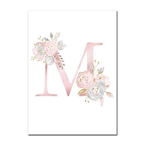 Baby Poster Personalisierte Mädchenname Benutzerdefinierte Poster Kinderzimmer Drucke Rosa Blumen Wandkunst Leinwand Malerei Bilder Für Mädchen Zimmer M 50X70cm Kein Rahmen