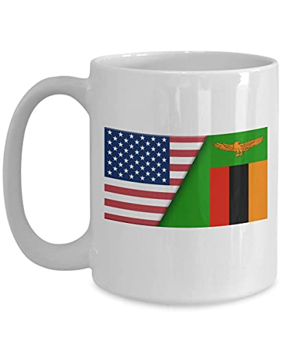 Weiße Kaffeetasse mit USA-Sambia-Flagge