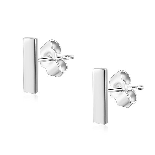 Womens Sterling Silver Tiny Bar Studs Push-Back Earrings in Sterling Silver White Gold Finish
