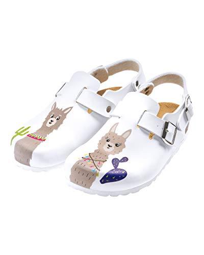 CLINIC DRESS Clog - Clogs Damen bunt weiß Motiv. Schuhe für Krankenschwestern, Ärzte oder Pflegekräfte weiß/bunt, Lama 37