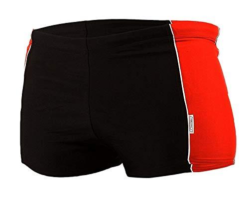 STANTEKS Jungen Badehose Badeshorts Shorts Schwimmhose Schwimmbekleidung SK0033 (122, schwarz-rot)
