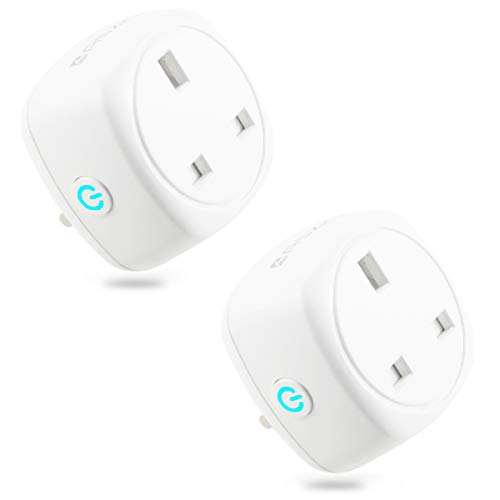 Smart Plug ASZKJ Mini WiFi Socket/Compatible with Alexa(Echo Echo Dot) Google Home/Wireless Remote Control Socket/Energy Monitoring Plug/Timer Plug Switch/WiFi Plugs/No Hub Required 10A (2 Pack)