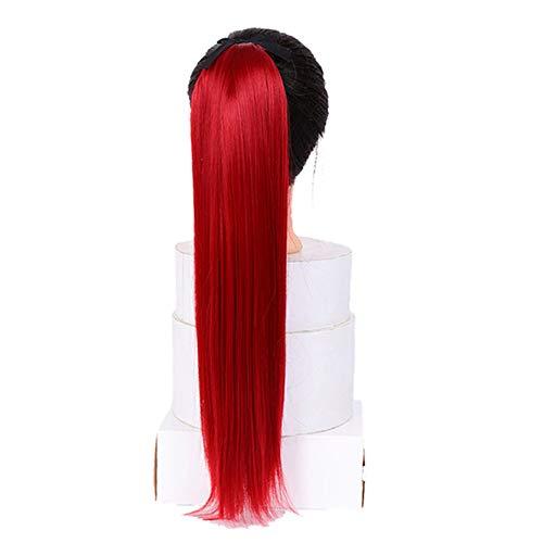 Clip en la extensin de cola de caballo envolver alrededor del pelo largo recto de la cola del pelo de 26 pulgadas huecos sintticos de 26 pulgadas