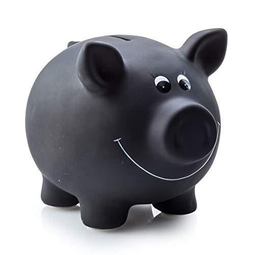 Sparschwein aus Keramik zum Beschriften Tafellack mit Kreide 17,5cm