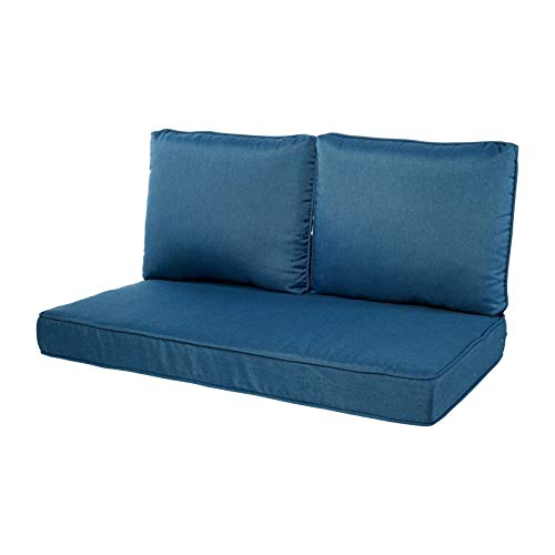 Quality Outdoor Living 29-MB02LV Loveseat Cushion, 46 x 26 3PC, Machine Blue