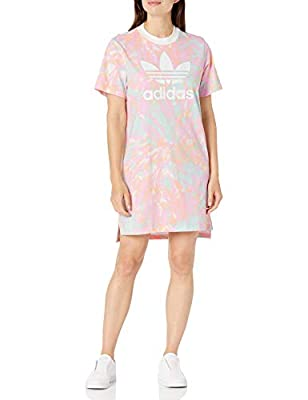 adidas Originals Women's Tee Dress, Top: Multi/White/True Pink/Vapour Blue Bottom: glow orange, M