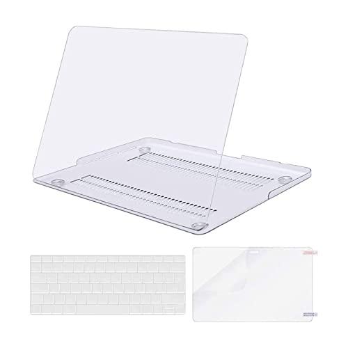 MOSISO Plastik Hartschale Hülle Kompatibel mit MacBook Pro 13 Zoll mit Retina Bildschirm (A1502 / A1425, Version 2015/2014/2013/2012) mit Passender Farbe Tastaturschutz mit Bildschirmschutz, Klar/Kristall