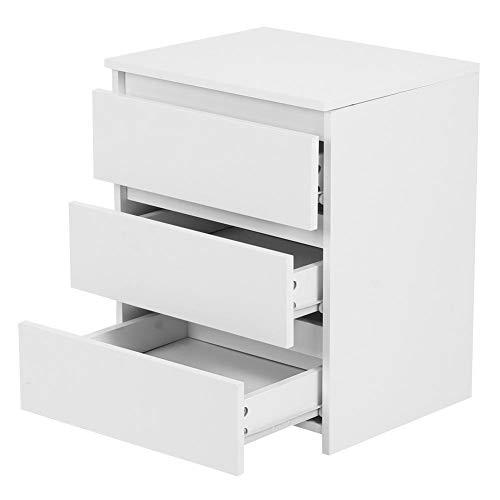 Cikonielf - Comodino moderno bianco con 3 cassetti per visualizzare accessori, lampade da tavolo, piante in vaso, foto 45 x 38,2 x 56 cm