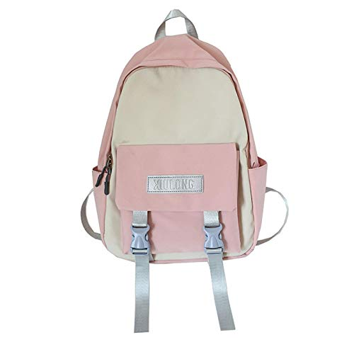 Middle School Student Schoolbag Casual Hit Color Travel Backpack Nylon Waterproof School Girl Backpack Light Pink