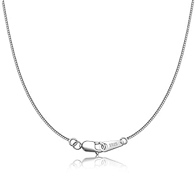 CIELTEAR 925 Sterling Silver Chain Necklace for Women 0.8mm Box Chain, Italian Necklace Rope Chain, Super Strong & Thin & Long16/18/20/22/24 Inches